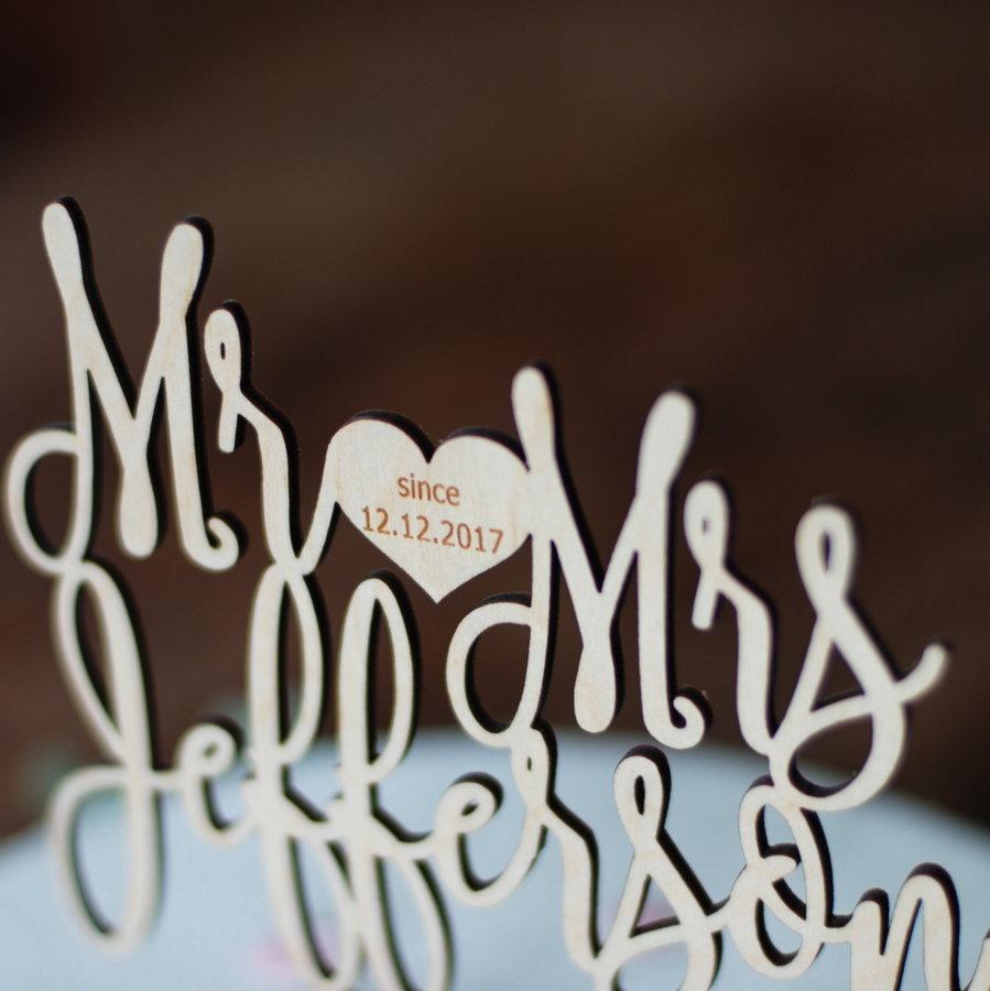 Kūkas dekors - Mr & Mrs ar sirsniņu