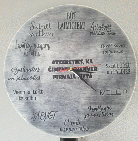 Koka sienas pulkstenis - ģimenes likumi