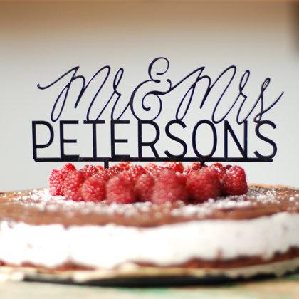 Kūkas dekors - Mr & Mrs, no akrila